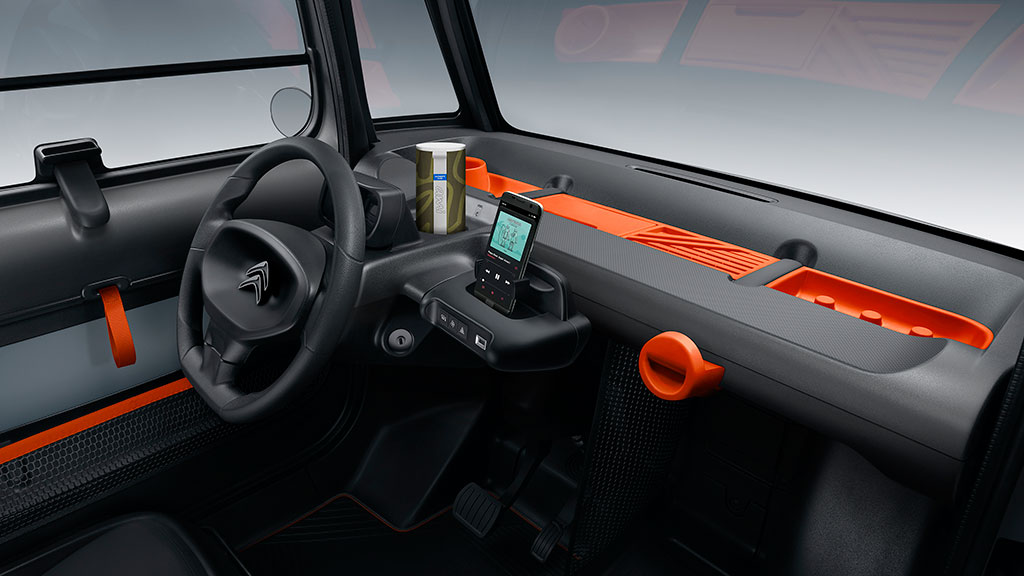 Interior shot of the Citreon Ami