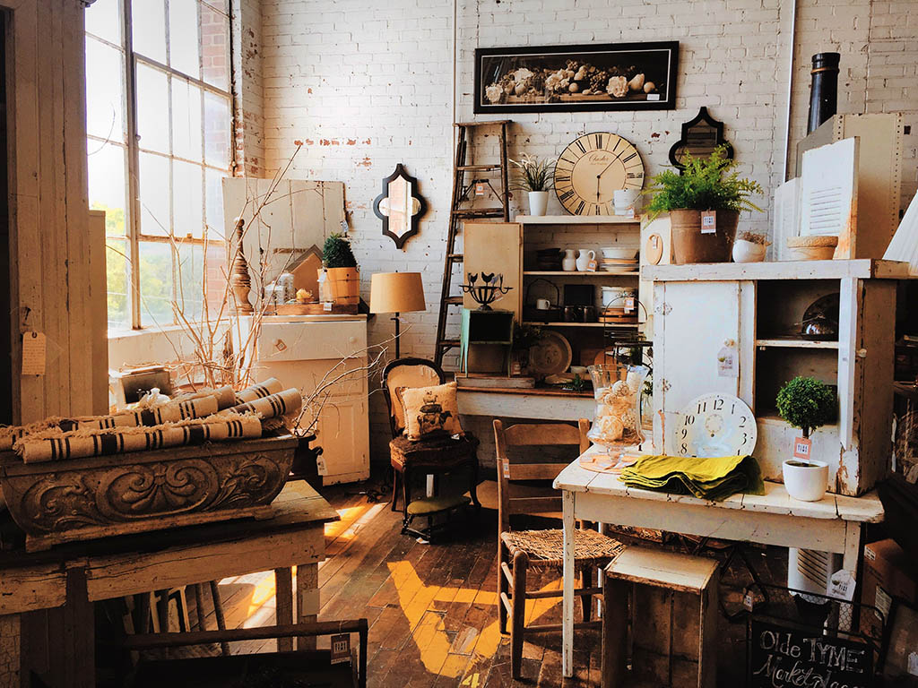 Charity shop with antiques and vintage furniture