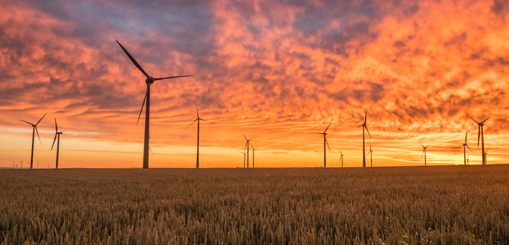 Wind mills in a sunset