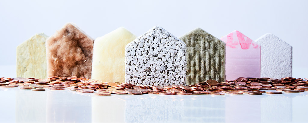 Miniature houses made out of insulation