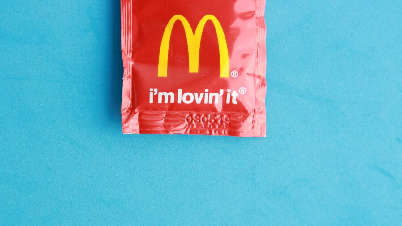 A McDonalds ketchup sachet