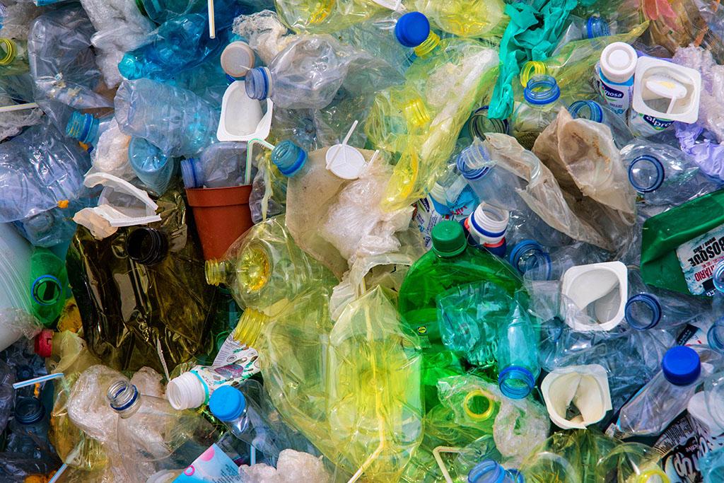 Plastic bottles piled up