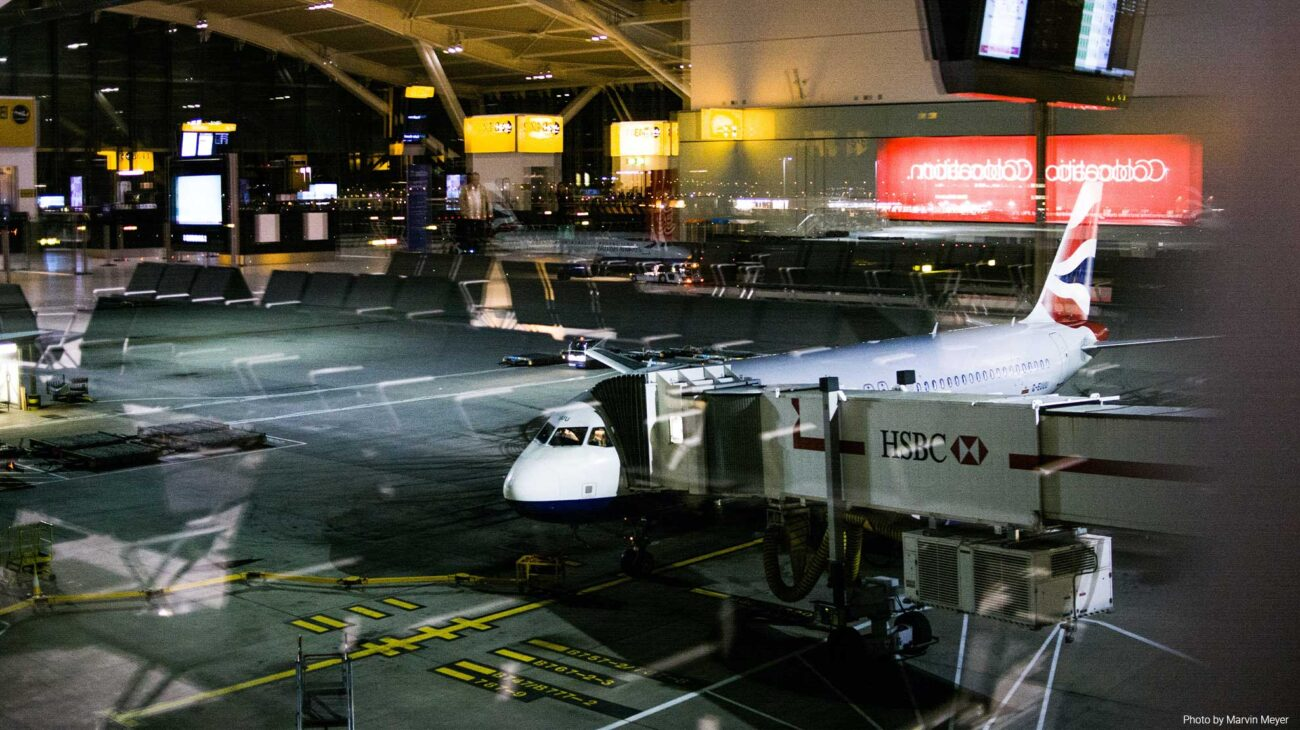 A docked plane at Heathrow airport