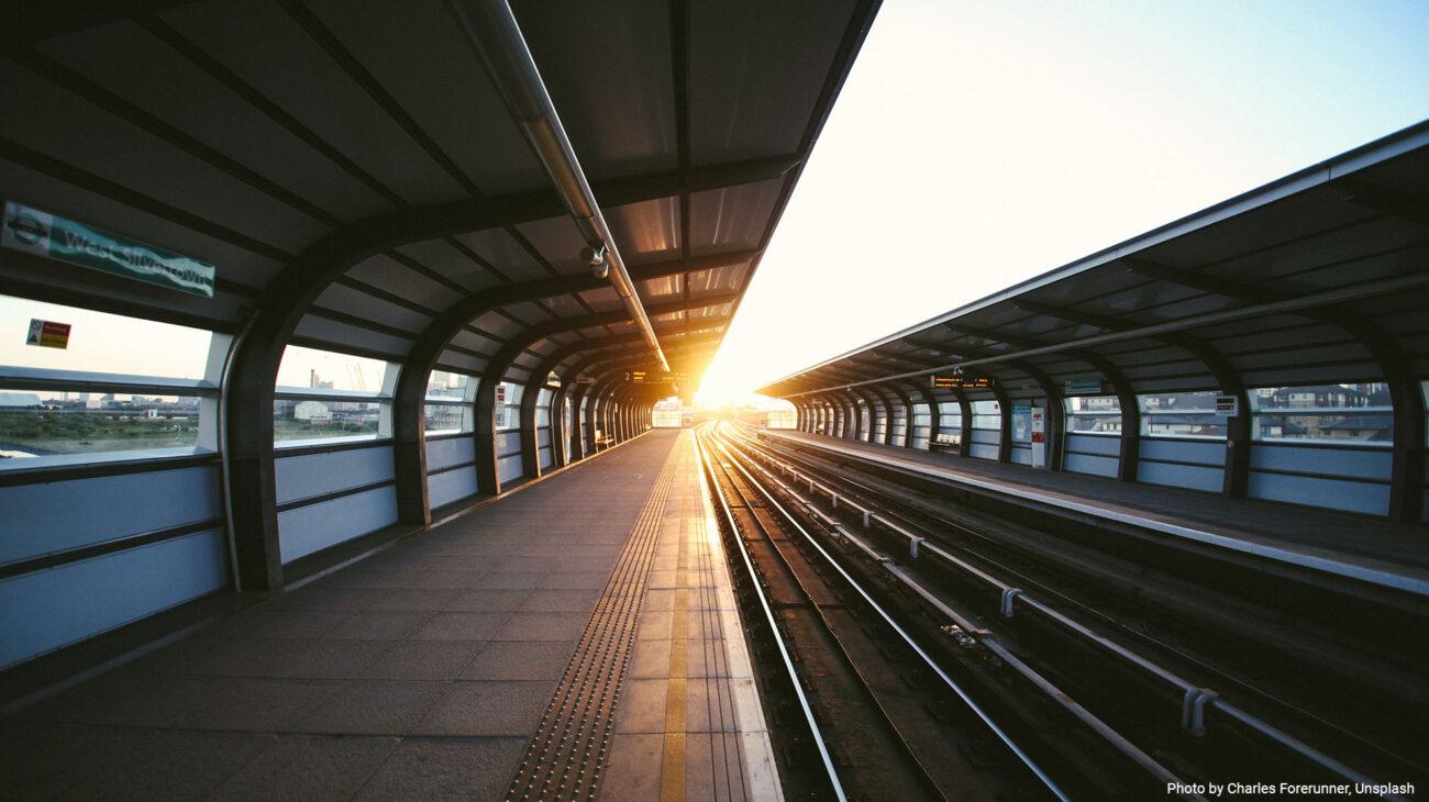 Train Station in setting sun