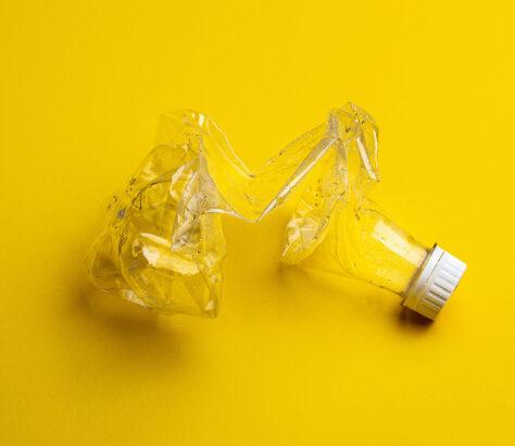 A crushed plastic bottle