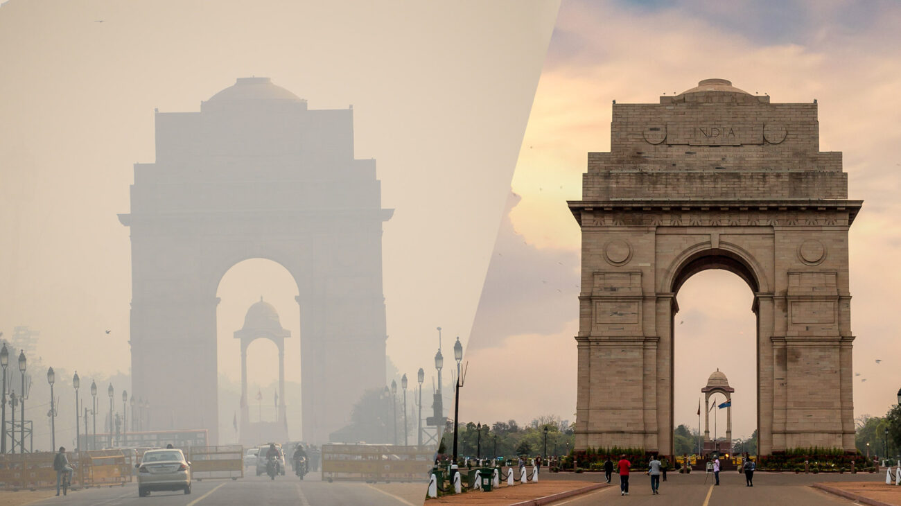 New Delhi India Gate war memorial in smog next to a recent photo of it in clean air