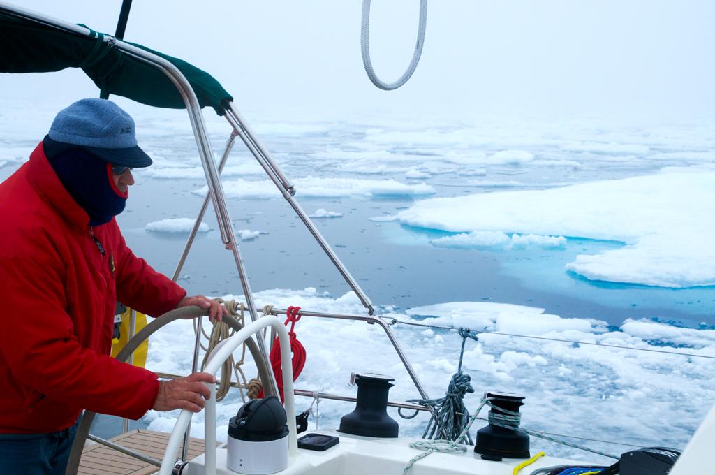 Jimmy navigating through ice