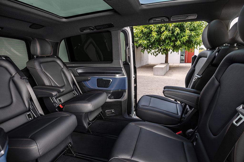 Mercedes Benz EQV rotated rear seats interior
