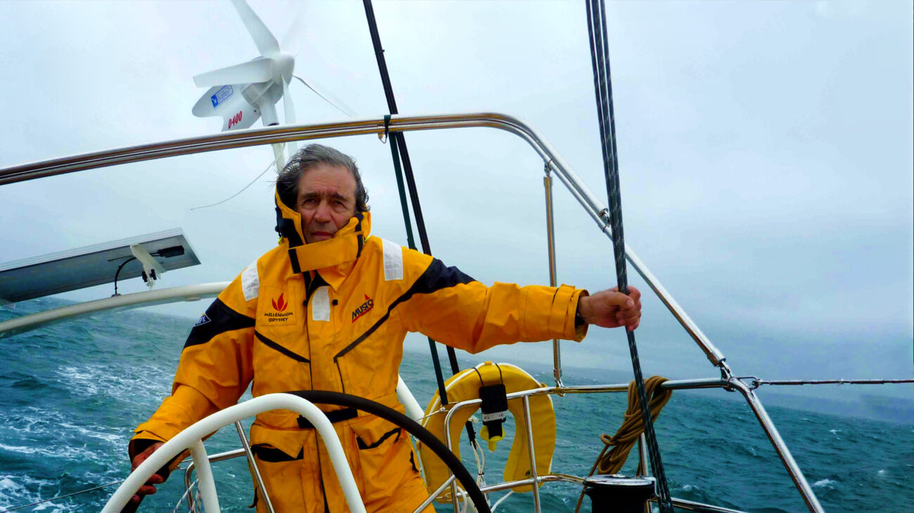 Jimmy Cornell sailing the open waters