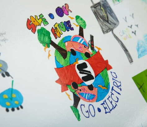 A close up of the electric charging unit with children's drawings on
