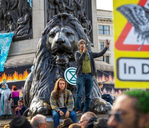 London, United Kingdom - 09/10/2019: Extinction Rebellion protesters in Trafalger Square