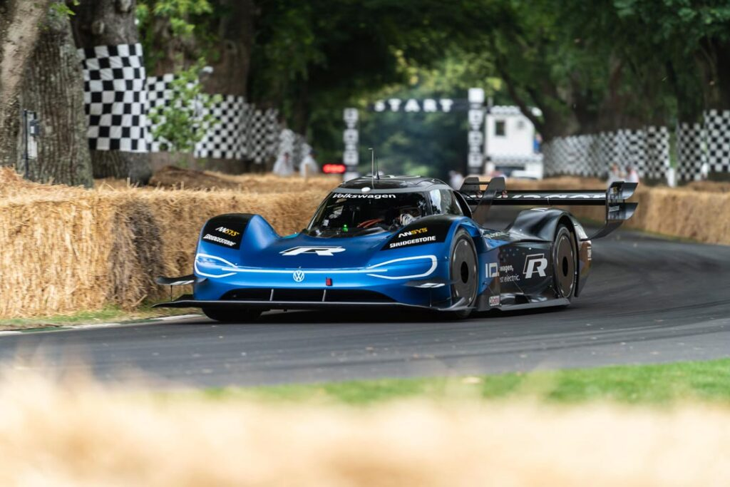 The VW ID.R powering around goodwood