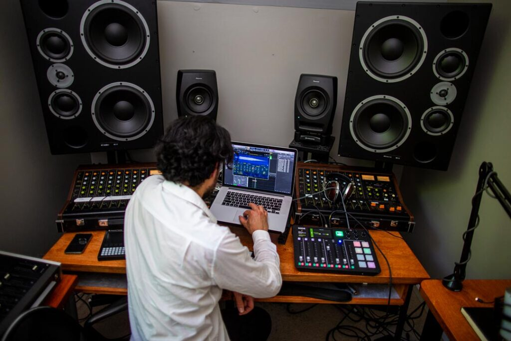 Mathew Dear working on the sounds from the Mach-E