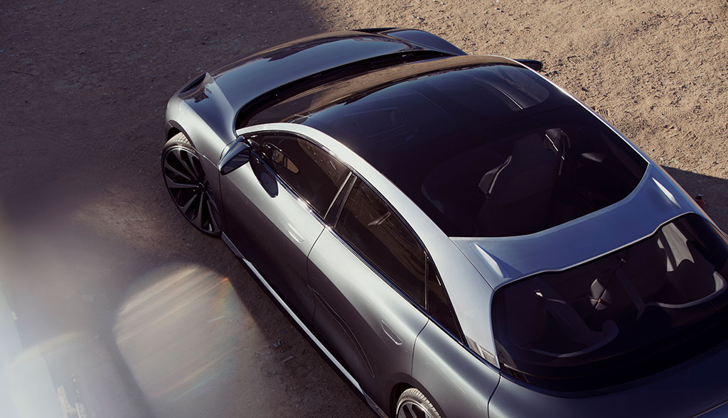 Showcasing the glass roof of the Lucid Air