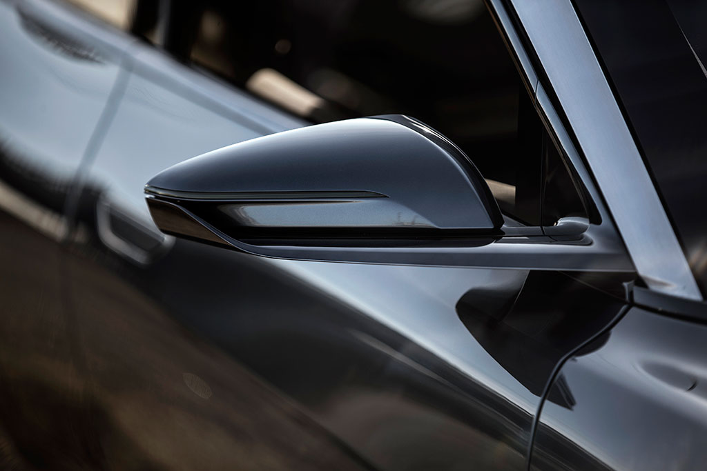 Stream lined wing mirrors of the Lucid Air