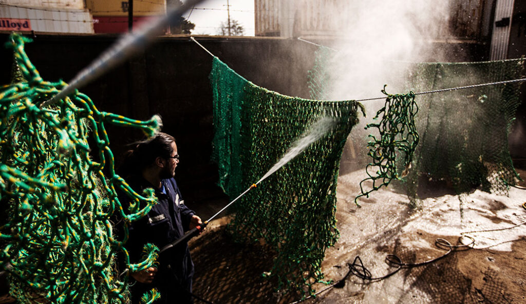 Volta Bureo Cleaning the nets