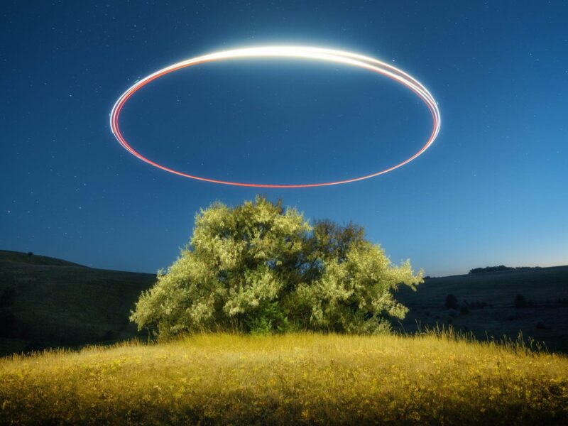 Drone inscribes an oval of light above a tree at starry night in summer