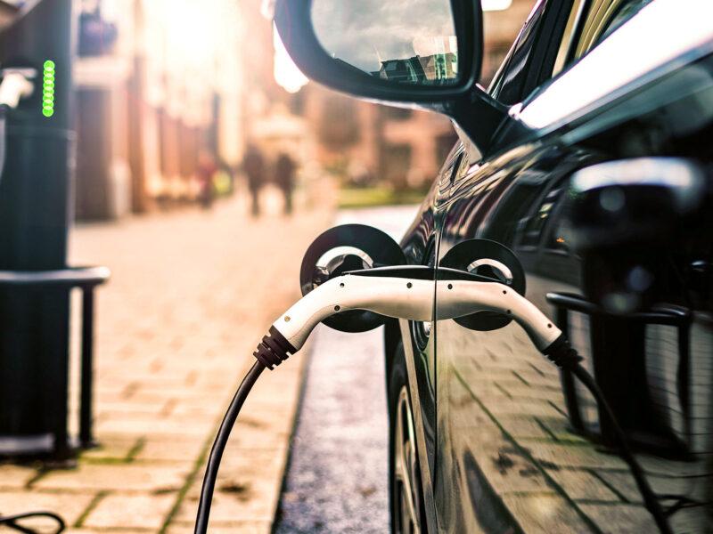 EV car charging on road