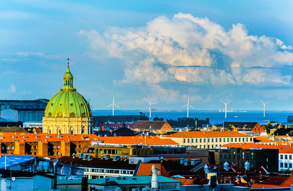 Frederik's Church and Offshore Wind Turbines near Copenhagen, Denmark