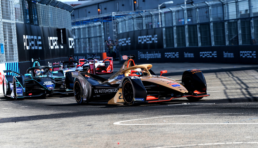 General view of electric racing cars during New York City E-Prix 2019 Formula E Round 13 at Red Hook