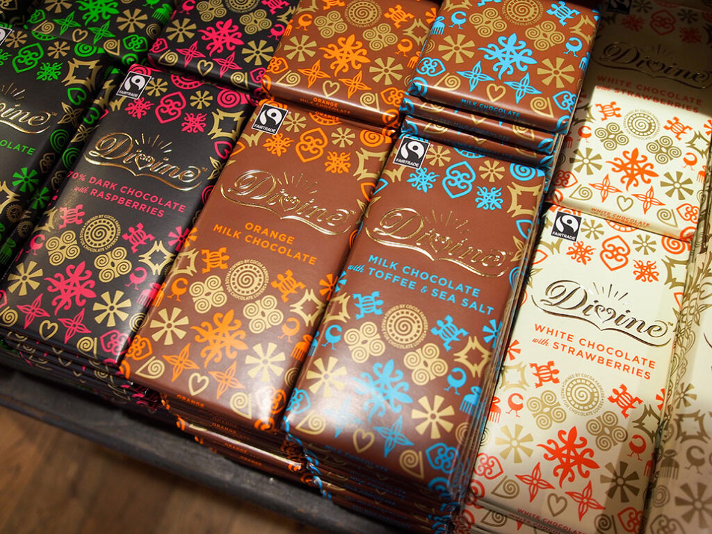 A selection of Divine Chocolate bars
