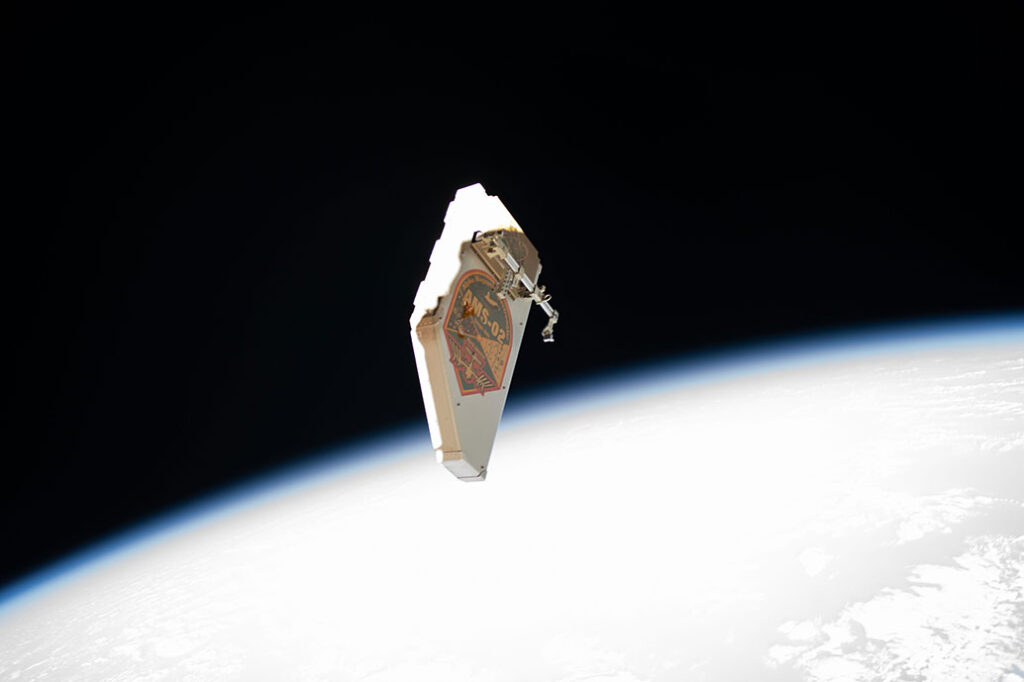 The Alpha Magnetic Spectrometer (AMS) is pictured having been jettisoned away from the International Space Station so Expedition 61 astronauts, Andrew Morgan and Luca Parmitano could make repairs. Photo credit: NASA