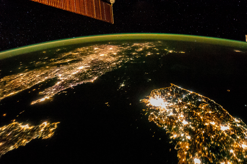 Flying over East Asia, an Expedition 38 crew member on the International Space Station took this night image of the Korean Peninsula, showing population density. - Jan 30th, 2014