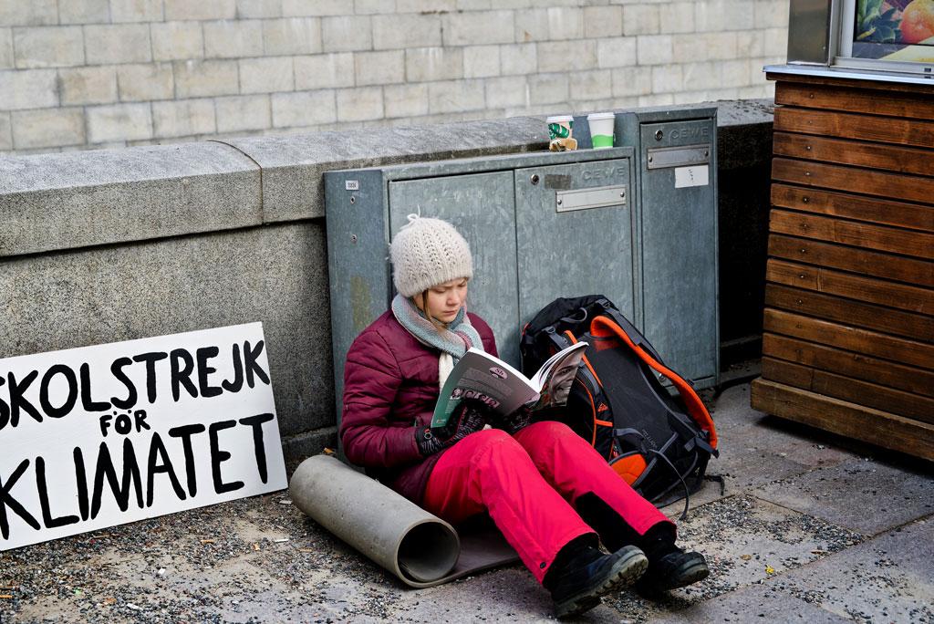 Greta Thunberg climate activist demonstrating every Friday.  Stockholm, Sweden