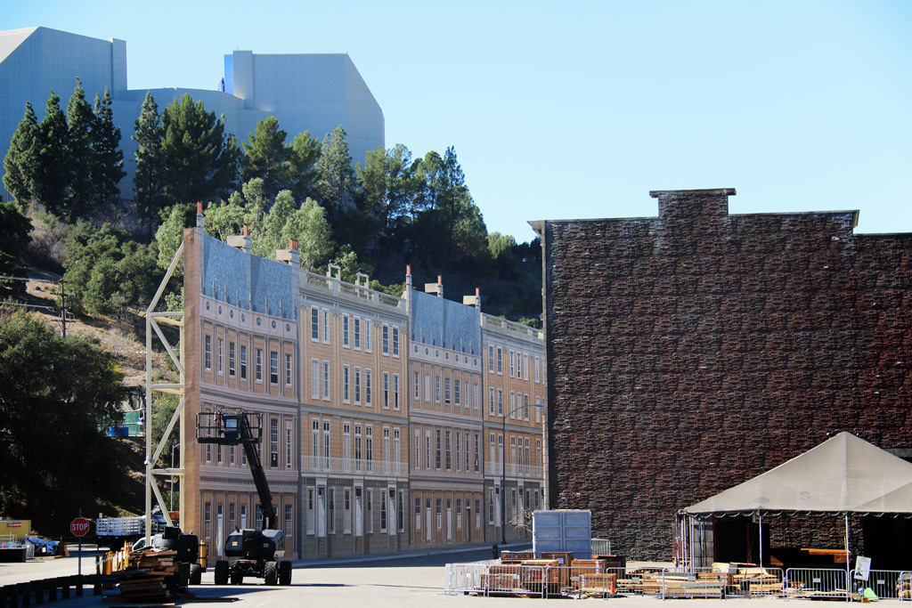The shells or facades on a studio backlot are usually. constructed without the back wall, Los Angeles, California, USA