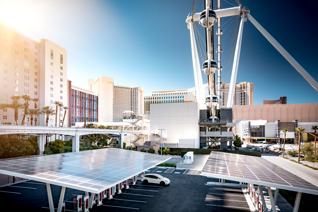 Tesla Super charger destination in Las Vegas, USA